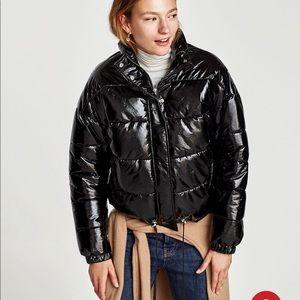 677e864986 Zara quilted vinyl puffer jacket